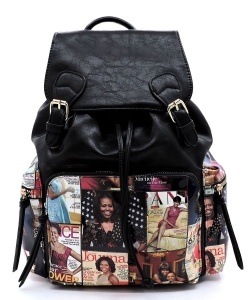 Magazine Cover Collage Backpack OD2738 MTBLACK