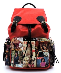 Magazine Cover Collage Backpack OD2738 MTRED