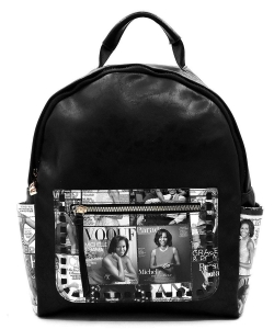 Magazine Cover Collage Whipstitch Pocket Backpack OD2739 BLACK