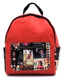 Magazine Cover Collage Whipstitch Pocket Backpack OD2739 MTRED