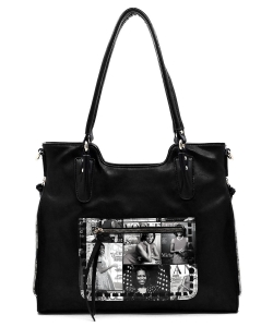 Magazine Cover Collage Whipstitch Pocket Satchel OD2740 BLACK