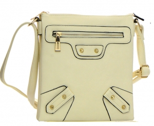 Faux Leather Messenger Bag L7133 37697 Off White