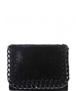 Chain Accent Mettalic Card Case Wallet OL-201 BLACK