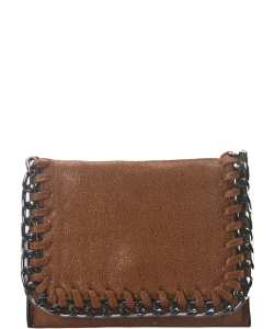 Chain Accent Mettalic Card Case Wallet OL-201 BROWN