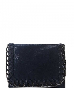 Chain Accent Mettalic Card Case Wallet OL-201 NAVY