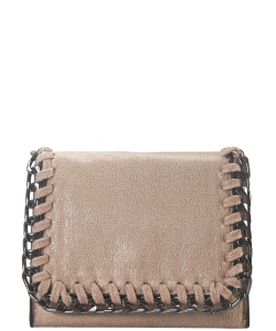Chain Accent Mettalic Card Case Wallet OL-201 TAUPE
