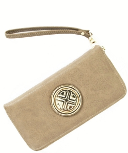 Gold Medallion Wristlet Bag OOE-W0095 BEIGE
