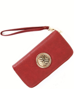 Gold Medallion Wristlet Bag OOE-W0095 BURGUNDY