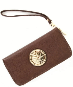 Gold Medallion Wristlet Bag OOE-W0095 COFFEE