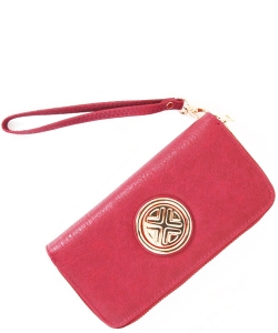 Gold Medallion Wristlet Bag OOE-W0095 PEACH