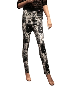 Magazine Cover Collage Printed Leggings OP201FX BLACK