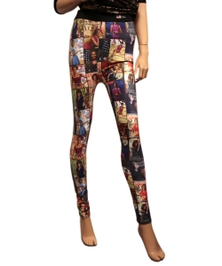 Magazine Cover Collage Printed Leggings OP201FX MULTI