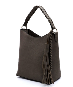 Fashion Pebbled Bucket Satchel OP2713 TAUPE