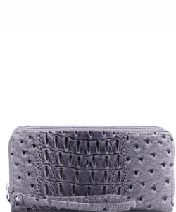 Ostrich Print Embossed Zip-Around Wallet OS0012 DGRAY