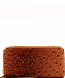 Ostrich Print Embossed Zip-Around Wallet OS0012 TAN