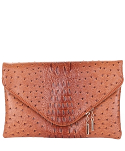 Crocodile Skin Faux Leather Clutch Bag OS024 LIGHT TAN