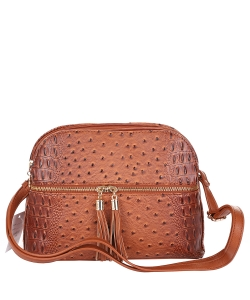 Ostrich Embossed Multi-Compartment Cross Body with Zip Tassel OS050 TAN
