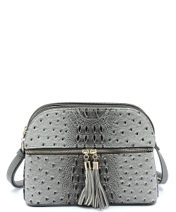 Ostrich Embossed Multi-Compartment Cross Body with Zip Tassel OS050 CHARCOAL GRAY