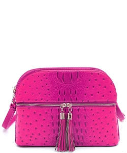 Ostrich Embossed Multi-Compartment Cross Body with Tassel  OS050  FUSCHIA
