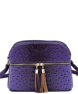 Ostrich Embossed Multi-Compartment Cross Body with Tassel  OS050 ROYAL BLUE