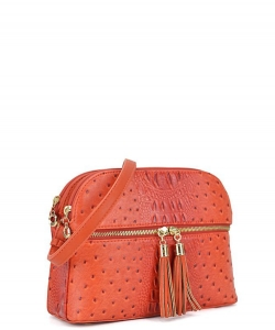Ostrich Embossed Multi-Compartment Cross Body with Zip Tassel OS050 BURNT ORANGE