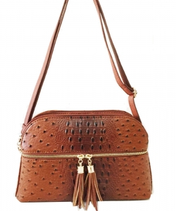 Ostrich Croc Satchel Messenger Bag OS050 TAN
