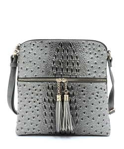 Ostrich Croc Zip Tassel Crossbody Bag OS062 CHARCOAL GRAY