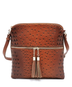 Ostrich Croc Zip Tassel Crossbody Bag OS062 TAN