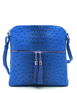 Ostrich Croc Zip Tassel Crossbody Bag OS062 RBLUE