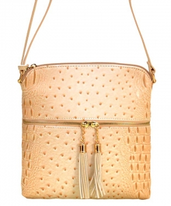 Ostrich Croc Fashion Crossbody Bag with Zip Tassel – OS062 BEIGE