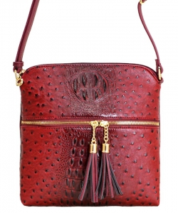 Ostrich Croc Fashion Crossbody Bag with Zip Tassel – OS062  Burgundy