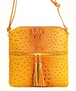 Ostrich Croc Fashion Crossbody Bag with Zip Tassel – OS062 MUSTARD