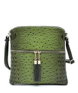 Ostrich Croc Fashion Crossbody Bag with Zip Tassel – OS062 OLIVE