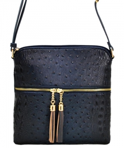 Ostrich Croc Fashion Crossbody Bag with Zip Tassel – OS062 SEA BLUE