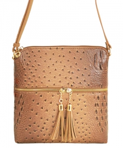 Ostrich Croc Fashion Crossbody Bag with Zip Tassel – OS062 STONE