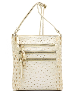 Ostrich Multi Zipper Crossbody Bag OS093 BEIGE