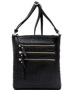Ostrich Multi Zipper Crossbody Bag OS093 BLACK