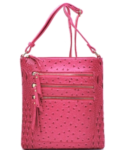 Ostrich Multi Zipper Crossbody Bag OS093 FUSCHIA