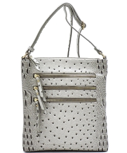 Ostrich Multi Zipper Crossbody Bag OS093 GRAY