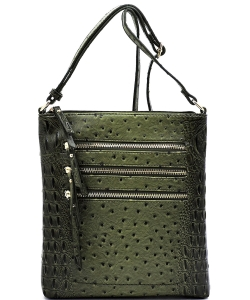 Ostrich Multi Zipper Crossbody Bag OS093 OLIVE
