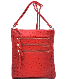Ostrich Multi Zipper Crossbody Bag OS093 RED