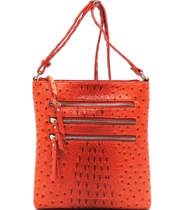Ostrich Multi Zipper Crossbody Bag OS093 TANGERINE