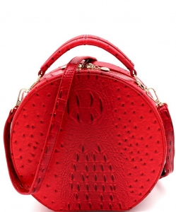 Fashion Faux Round Ostrich Satchel Handbag OS094 RED