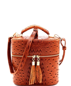 Ostrich Embossed Top Handle Satchel OS095 LIGHT TAN