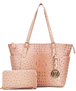 Ostrich Embossed Tote with Matching wallet OS1009W RPINK
