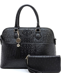 Animal Skin Textured Satchel With Charm Ornament Matching Wallet Set OS1030W BLACK
