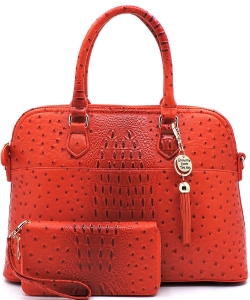 Animal Skin Textured Satchel With Charm Ornament Matching Wallet Set OS1030W BORANGE