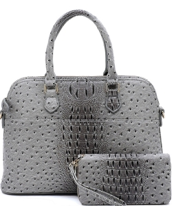 Animal Skin Textured Satchel With Charm Ornament Matching Wallet Set OS1030W DGRAY