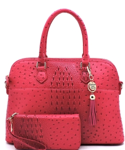 Animal Skin Textured Satchel With Charm Ornament Matching Wallet Set OS1030W MAGENTA