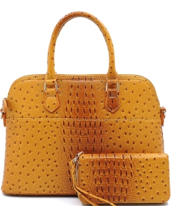 Animal Skin Textured Satchel With Charm Ornament Matching Wallet Set OS1030W MUSTARD